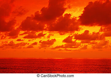 Dramatic sea - Dramatic sea with sun rays and clouds in...