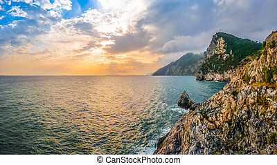 Dramatic seascape from church of St Peter, Porto Venere, Italy