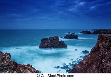 Dramatic seascape in southern Portugal. Carrapateira.