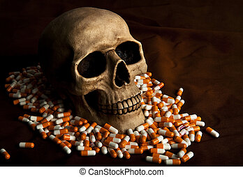 Dramatic sickness - Dramatic skull in the pile of drugs ...