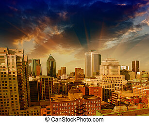 Dramatic sky above Montreal Buildings, Canada - Aerial view.