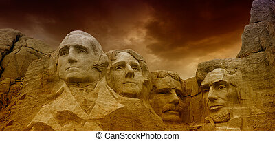 Dramatic Sky above Mount Rushmore National Memorial, South...