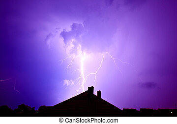 Lightning hit the house. - Dramatic sky and storm. Lightning...