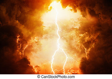Apocalyptic dramatic background - bright lightning in dark red stormy sky, judgment day, hell