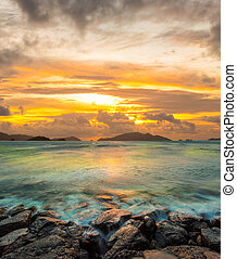 Dramatic sky at sunset in Hawaii