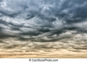 Dramatic sky before storm - Rainy cloudy sky before the...