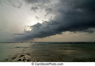 Dramatic Sky - Beginning of Cloudy Sunrise over Ocean...