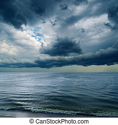 dramatic sky over dark water
