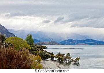 Dramatic sky over Lake Wanaka in the South Island of New Zealand