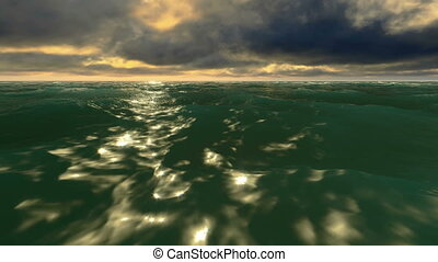 Dramatic sky over ocean waves - Realistic 3d animation of...
