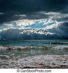 dramatic sky over stormy sky