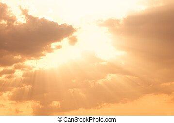 Dramatic sky with beautiful sunset