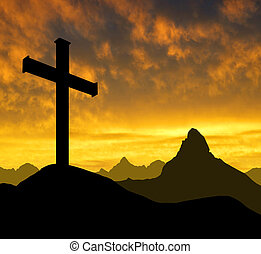 mountain cross - Dramatic sky with mountain cross