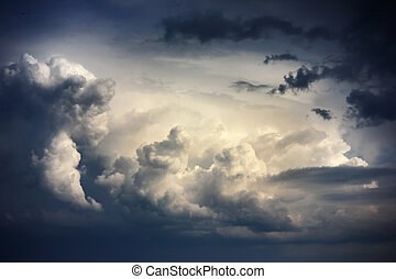 Dramatic sky with stormy clouds before rain