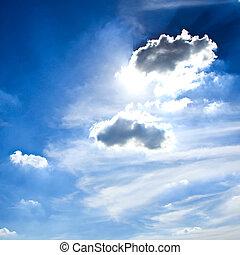 Dramatic sky with sun rays.