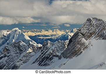 Dramatic Snow Capped Mountain Peaks in the German Alps - ...