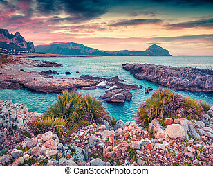 Dramatic spring morning on the nature reserve Monte Cofano. ...