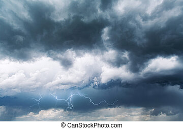 Dramatic storm clouds with rain
