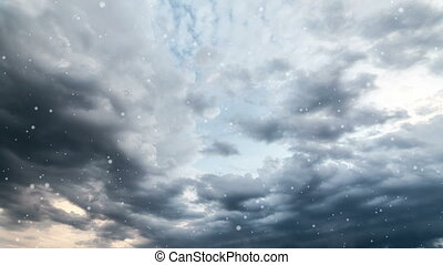 Dramatic storm sky background with snow