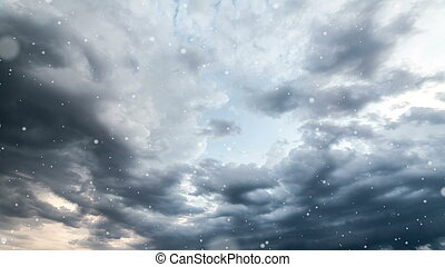 Dramatic storm sky background with snow.