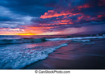 Dramatic stormy sunset and waves in the Pacific Ocean, seen at V