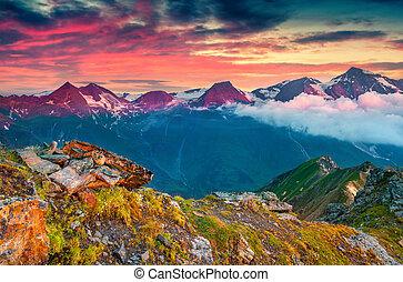 Dramatic summer sunrise on the Grossglockner mountain