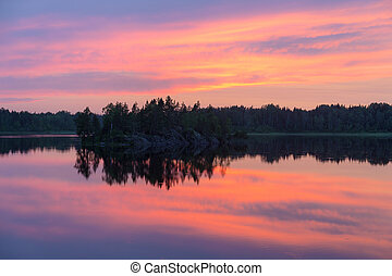 summer sunset with reflections