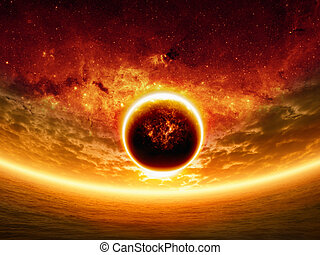 Dramatic sunset - Abstract apocalyptic background - sunset...