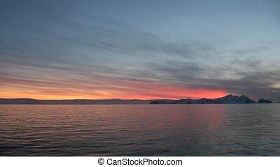 Dramatic Sunset and Sunrise in Antarctica - Antarctic Peninsula - Palmer Archipelago - Neumayer Channel