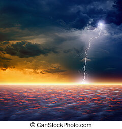 Dramatic sunset - Dramatic apocalyptic background, end of...