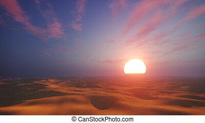 Dramatic sunset in african desert - Sunset desert landscape...