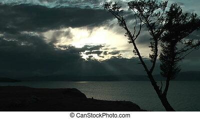 Dramatic sunset on Baikal lake
