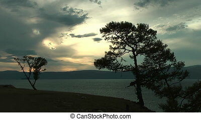 Dramatic sunset on Baikal lake