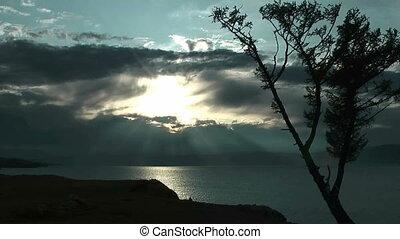 Dramatic sunset on Baikal lake.  - Olkhon island