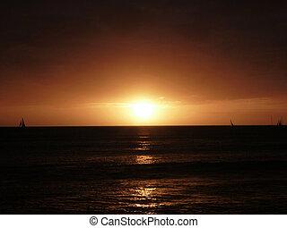 Dramatic Sunset over Pacific Ocean near Waikiki