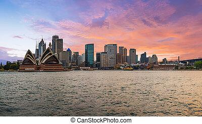 Dramatic sunset over Sydney in Australia