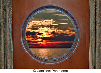 Dramatic Sunset Seen Through a Ship Porthole
