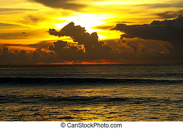 Dramatic sunset sky and ocean