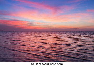 Dramatic sunset sky over coastline