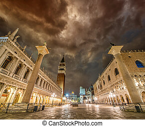 Dramatic sunset sky over Piazza San Marco in Venezia. St Mark Sq
