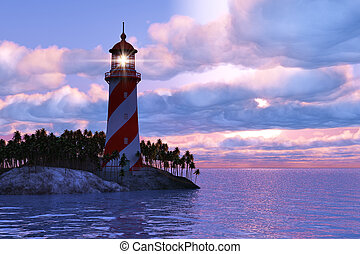 Dramatic sunset with lighthouse on island in sea - Beautiful...