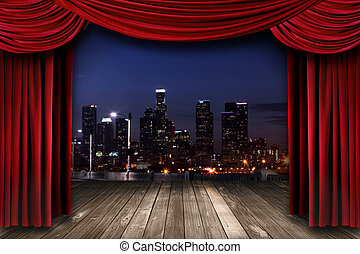 Theater Stage Curtain Drapes With a Night City as a Backdrop...