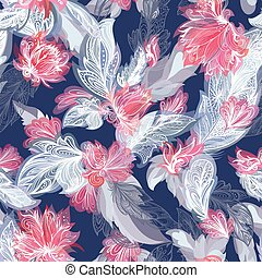 Dramatic Vector Feather and Flower Pattern - Boho style grey...