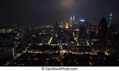 Dramatic View of Kuala Lumpur at Night. Video 1080p FullHD -...