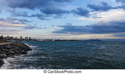 Dramatic view of sea and beautiful sky in Moda, Istanbul city