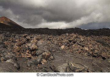 Dramatic views of the volcanic landscape. Kamchatka ...
