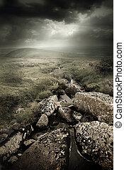 Dramatic Wild Moorlands. Wild landscape from Dartmoor, UK