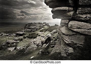 Dramatic Wild Moorlands rocks. Wild landscape from Dartmoor, UK
