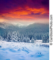Dramatic winter sunset in the snowy mountains.