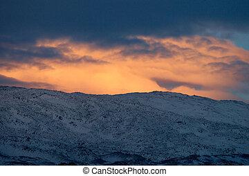 Dramatic winter sunset